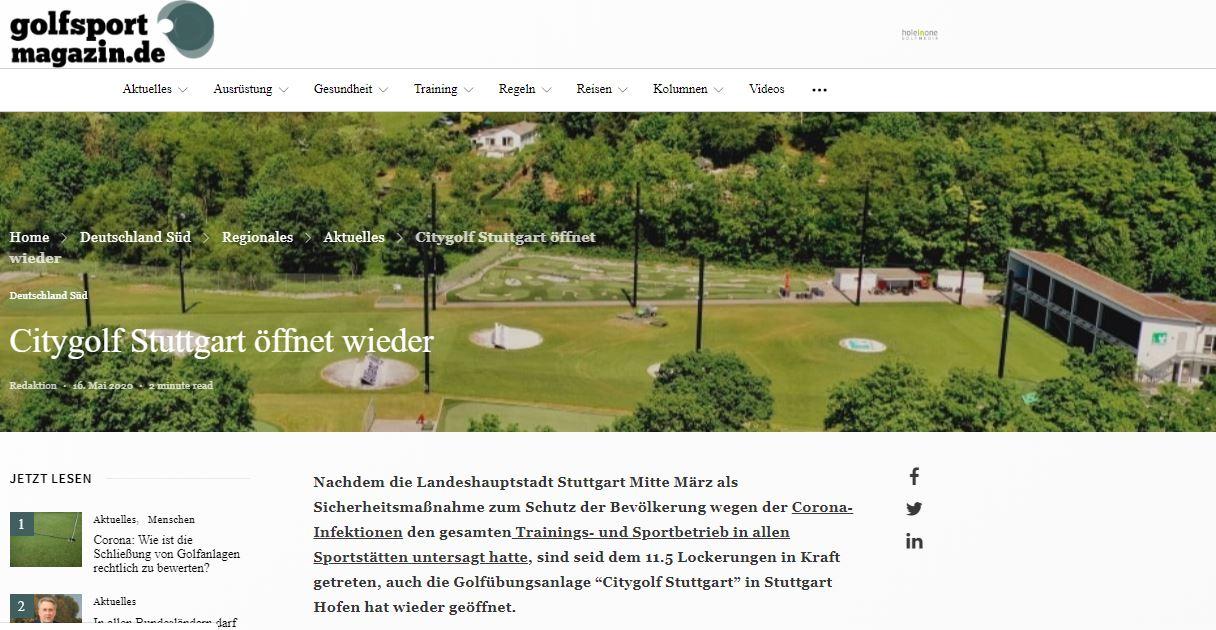 Golfsport Magazin_Pressemitteilung_Citygolf Stuttgart_Golfen wieder möglich nach Corona