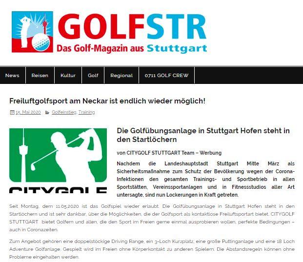 Golfmagazin Stuttgart, GOLFSTR, Citygolf Stuttgart eröffnet wieder